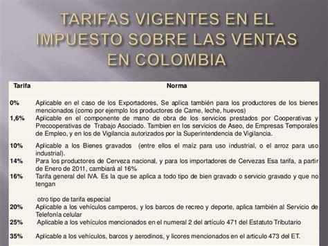 tarifas del iva vigentes en colombia en 2016 impuesto del valor agregado iva