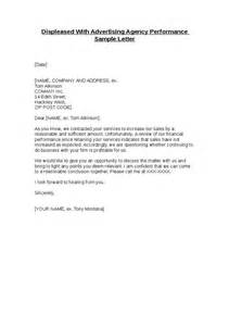 Performance Letter Template by Displeased With Advertising Agency Performance Sle