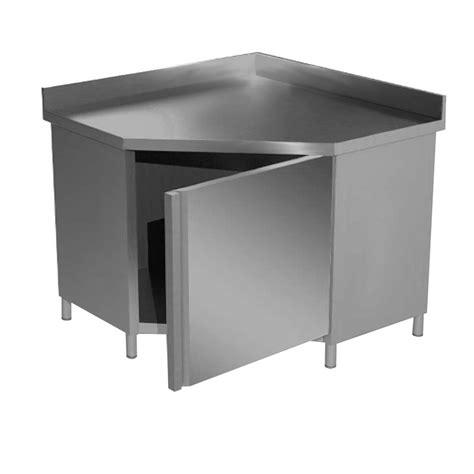 tavolo inox tavolo inox angolare armadiato con anta battente e alzatina
