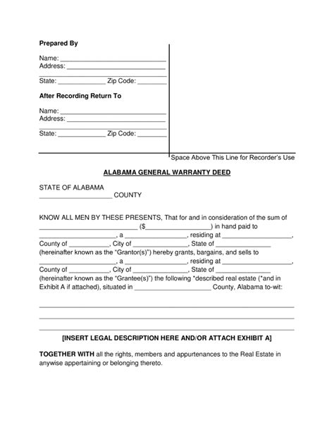 free printable quit claim deed alabama free alabama general warranty deed form pdf word