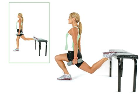 single leg bench squats for women women s health fitness