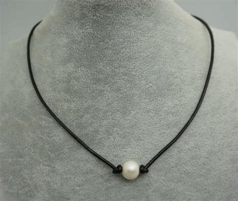 Pearl White Color Necklace aliexpress buy leather pearl choker necklace white color freshwater pearl black leather