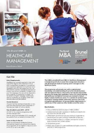 Brunel Mba Requirements brunel healthcare management mba by brunel
