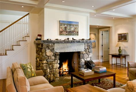 Living Room and Fireplace Farmhouse Living Room Portland Maine by Whitten Architects