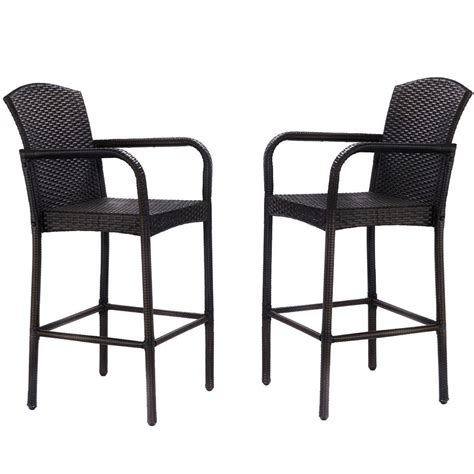High Patio Chairs - 2 pcs rattan wicker bar stool armrest high counter chair