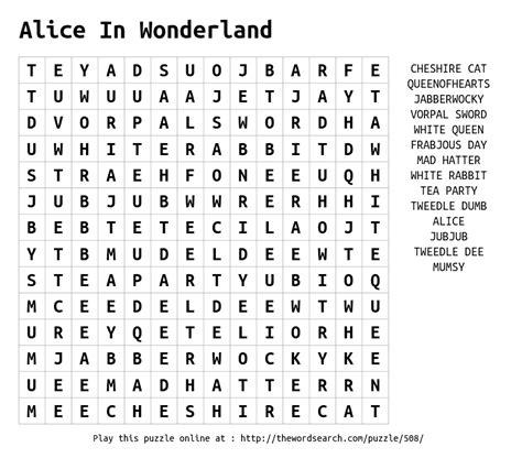 alice in wonderland printable word search download word search on alice in wonderland
