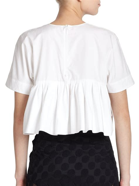 White Peplum Blouse giamba peplum back blouse in white lyst