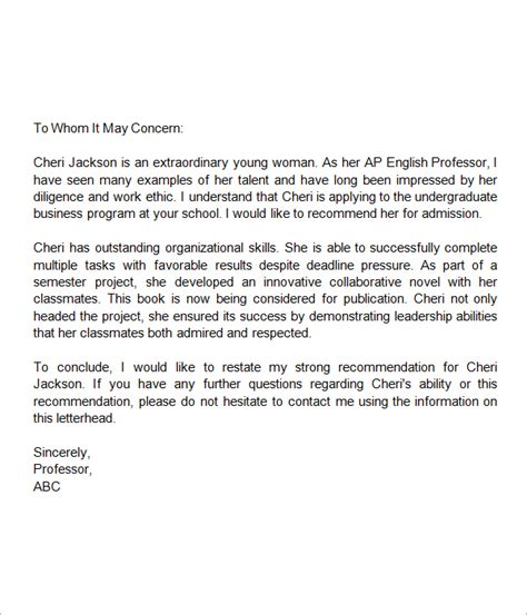 Recommendation Letter For Student Project Letter Of Recommendation For Middle School Student Addyson Bday Middle Students