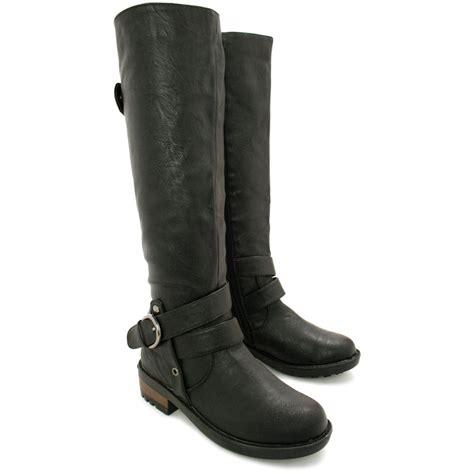 womens flat buckle knee high biker boots size 3 8