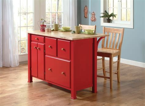amish guest server kitchen island with two bar stools john thomas select kitchen island by whitewood in red