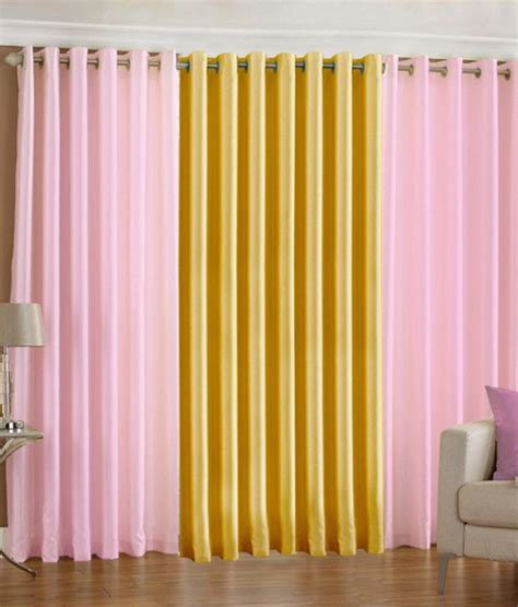 baby yellow curtains pindia set of 3pc plain eyelet door curtains baby pink