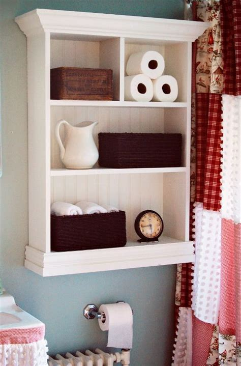 cottage bathroom shelf decorating ideas