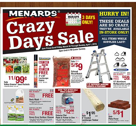 menards: crazy days sale happening now! | milled