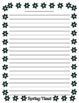 spring writing lined paper by teacher vault   teachers pay