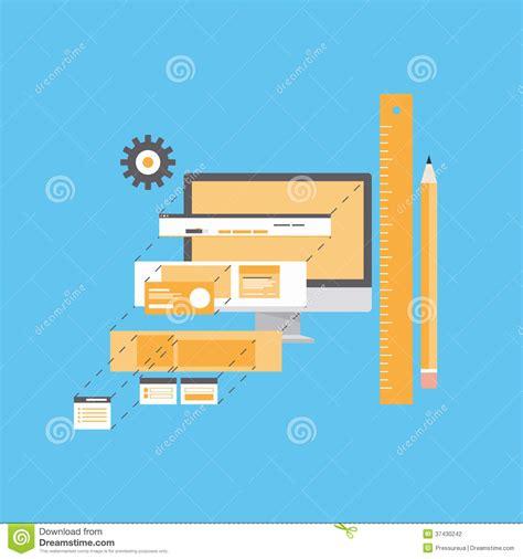 flat layout photography website development flat illustration stock photography