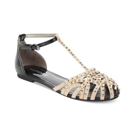 report shoes report felecia t flat sandals in metallic lyst