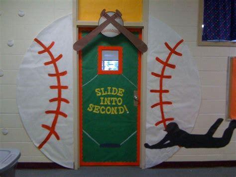 sports themed door decorations classroom door baseball slide into second school door