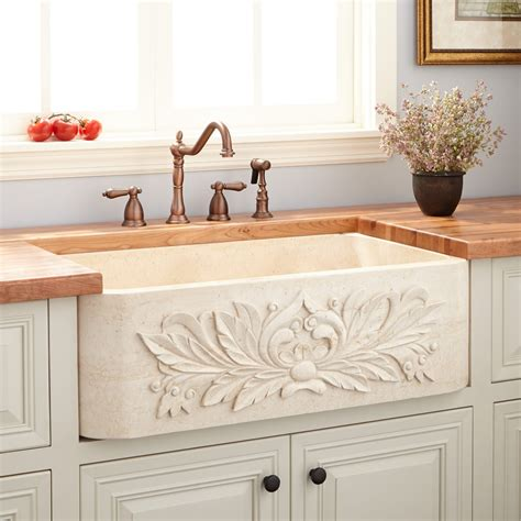Buy Kitchen Island Online 30 Quot Ivy Polished Marble Farmhouse Sink Cream Egyptian