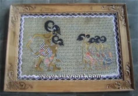 New Lukisan Hiasan Dinding Kantor Rumah Daun Emas 23631 kerajinan wayang kulit souvenir khas jawa suryo