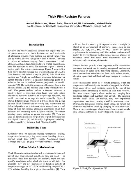 thick resistor lifetime thick resistor failures pdf available