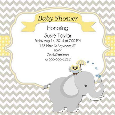 baby shower invitations elephant owl baby shower