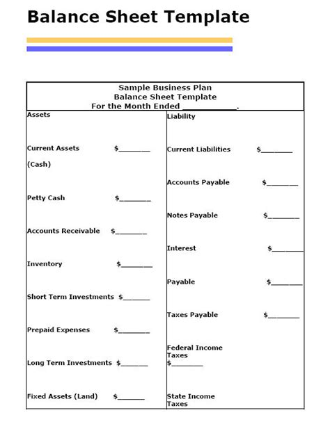 corporate balance sheet template balance sheet template