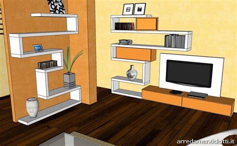 mensole arancioni parete attrezzata creative side bianco e arancio diotti