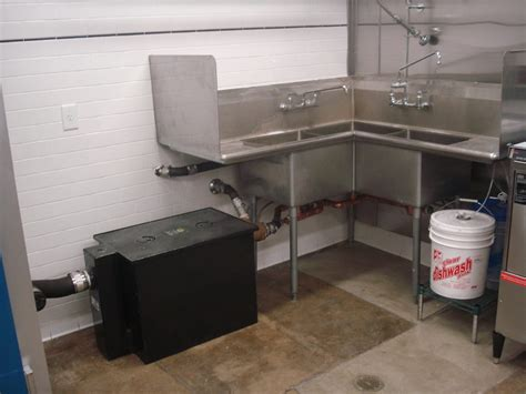 sink grease trap commercial three compartment sink with grease trap