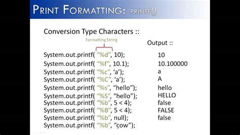 format html string c print formatting part 1 printf conversion type