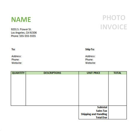 invoice template photography photography invoice sle 7 documents in pdf word
