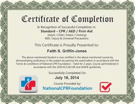 faith certificate cpr certification online first aid