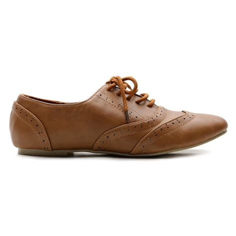 womens flat brown shoes ollio s shoe classics lace up dress low flat heel