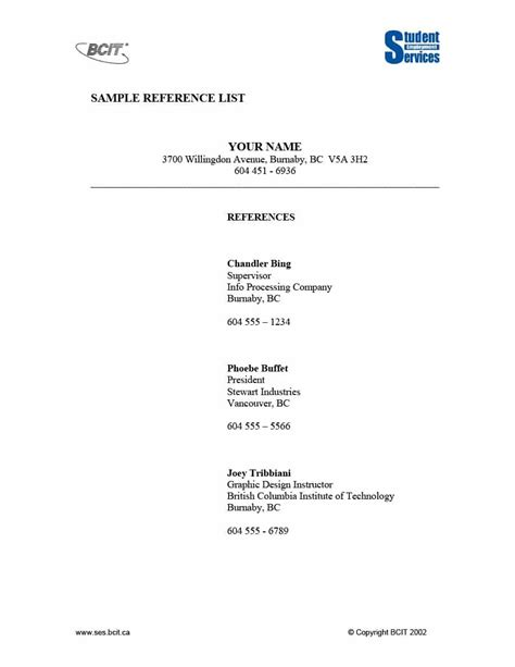 reference list template professional reference page