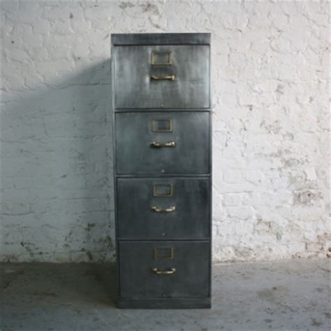 vintage polished steel 4 drawer filing cabinet with brass