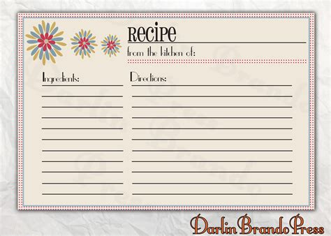 Retro Recipe Cards Vintage Template Free Word darlin brando press
