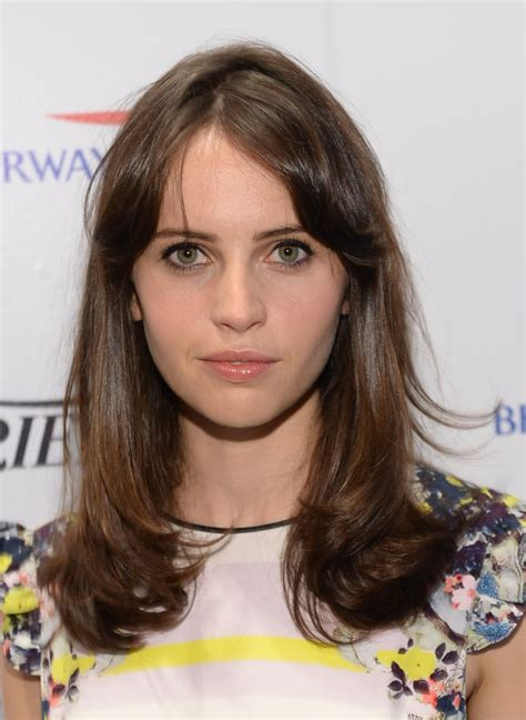 felicity jones celebrity fringe hairstyles  spring popsugar beauty uk photo