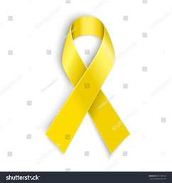 bone cancer color vector yellow awareness ribbon on white stock vector