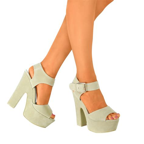block heel high heels womens peep toe platform high chunky block heels demi