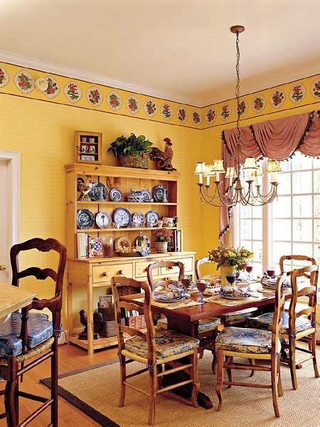 country french style breakfast room  yellow plaid