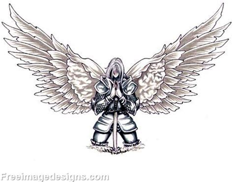 angel knight tattoo designs knight with wings kneeling tribal image download free