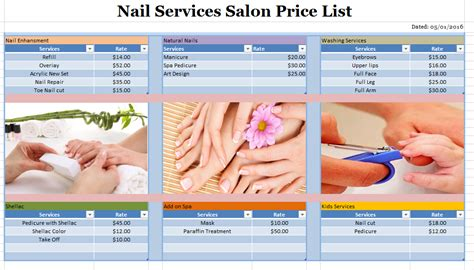 salon layout template nail services salon price list template blue layouts