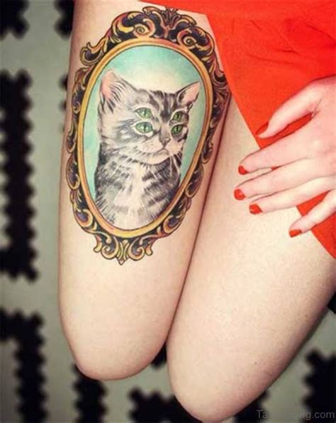 cat tattoo on thigh 71 unique cat shoulder tattoos