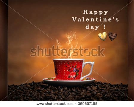 valentines day coffee drinks cup coffee coffee beans closeup stock photo 357507728