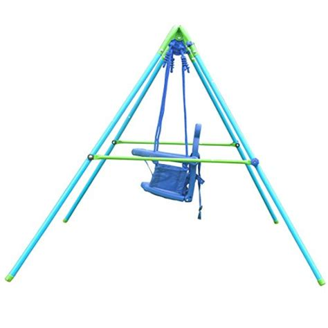 folding swing set hlc folding toddler blue secure swing with safety seat for