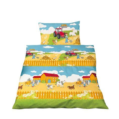 Kinderbettwäsche 135x200 Biber 258 by Bettw 228 Sche 100x135 Cm Baumwolle Kinder Bauernhof Roter
