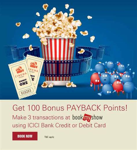 bookmyshow offers icici bank debit card 100 bonus bookmyshow payback points icici bank