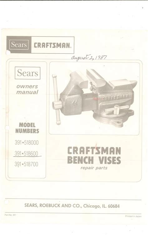 bench vise parts list sears craftsman bench vises owners manual repair parts list 391 518600 not pdf