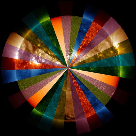 colorful sun wheel of colorful sun sdo 5 years nasa