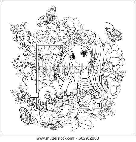 unicorn horn coloring page vector illustration zen tangle girl her stock vector
