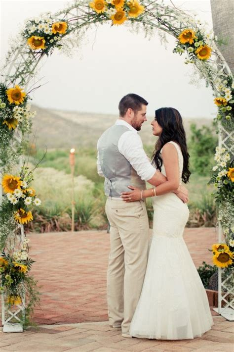 Wedding Arch With Sunflowers by Los Cabos Wedding At Huerta Los Tamarindos From